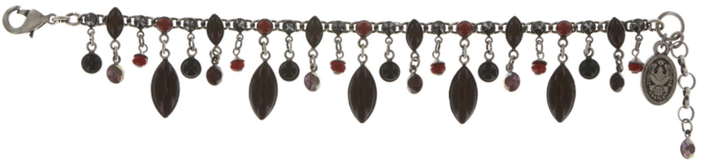 bracelet Dangling Navette black/red antique silver