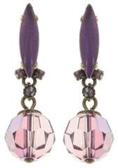 earring stud dangling La Maitresse pink/lila antique brass
