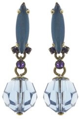 earring stud dangling La Maitresse blue/lila antique brass