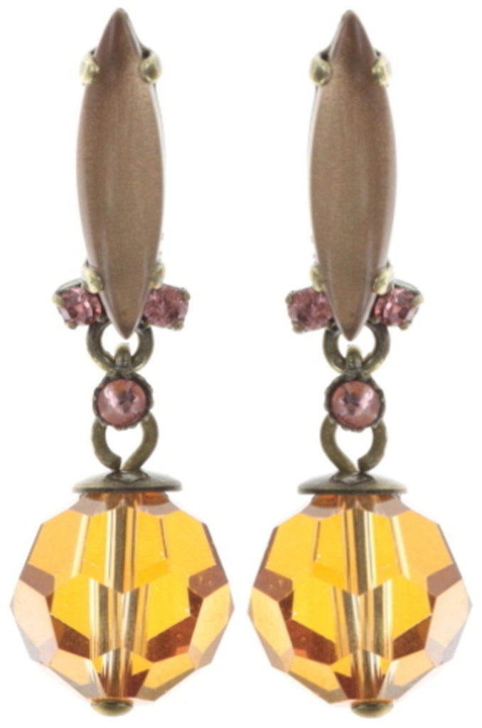 earring stud dangling La Maitresse multi antique brass