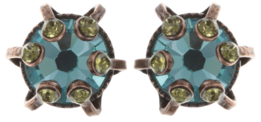 earring stud La Maitresse blue/green antique copper