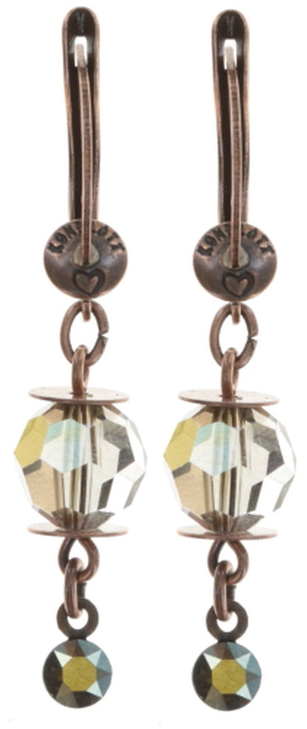 earring dangling La Maitresse brown antique copper