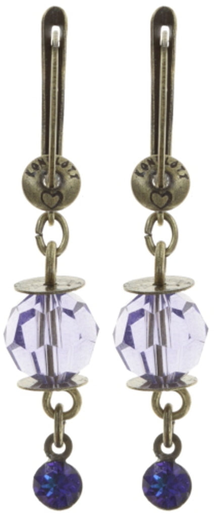 earring dangling La Maitresse lila antique brass
