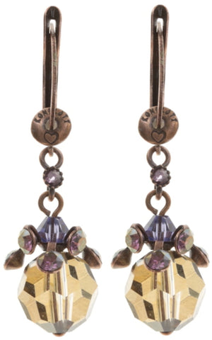 earring dangling La Maitresse brown/lila antique copper