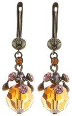 earring dangling La Maitresse pink/brown antique brass