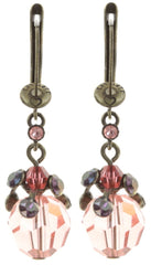 earring dangling La Maitresse pink antique brass