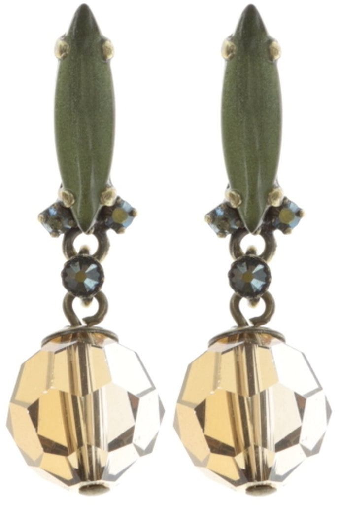 earring stud dangling La Maitresse brown/green antique brass