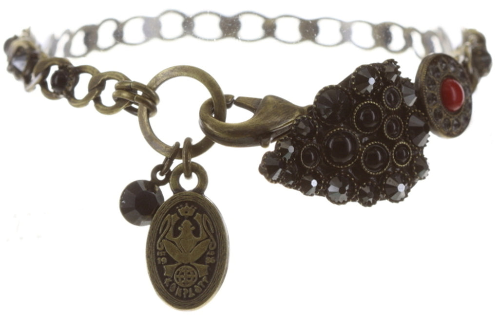 bracelet Queen of Elves black/red antique brass