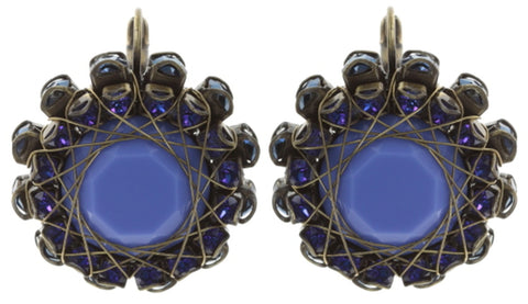 earring eurowire In Honor of the Rose blue antique brass
