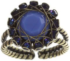 ring In Honor of the Rose blue antique brass