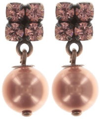 earring stud dangling Chameleon brown/pink antique copper short