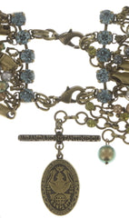 necklace collier Chameleon blue/green antique brass