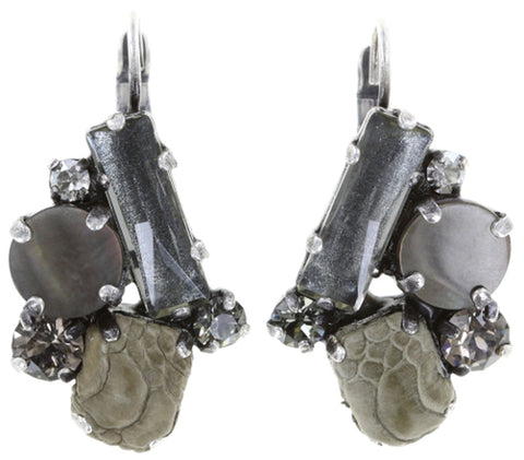 earring eurowire To Katharine With Love grey antique silver