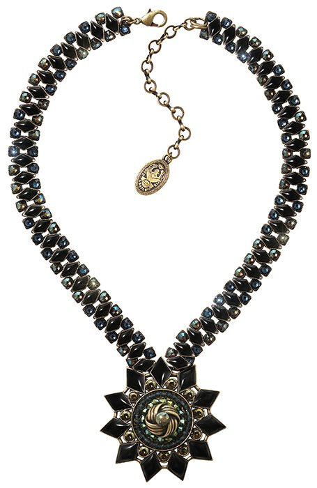 necklace Arabic Nights black/green antique brass extra large