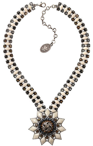 necklace Arabic Nights white/grey antique silver extra large