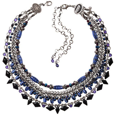 necklace collier Arabic Nights blue antique silver