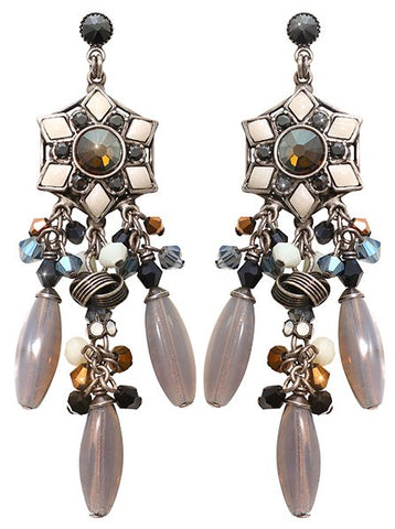 earring stud dangling Arabic Nights white/grey antique silver small