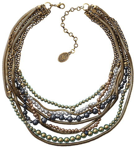 necklace Chameleon blue/green antique brass