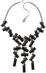 necklace-Y Float to the Rhythm black antique silver