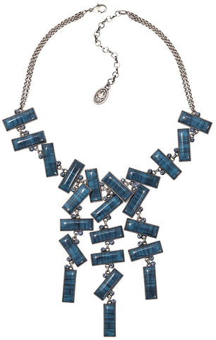 necklace-Y Float to the Rhythm blue antique silver