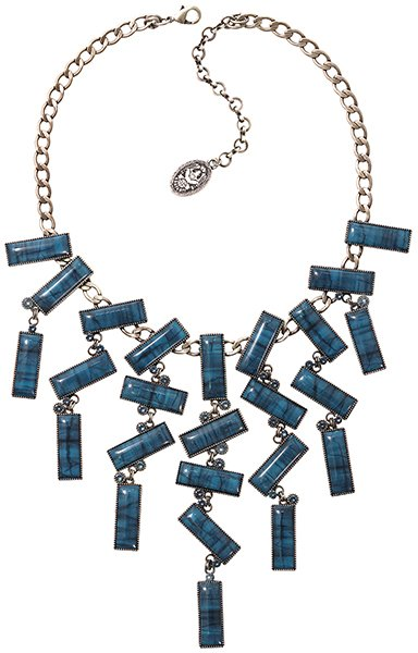 necklace collier Float to the Rhythm blue antique silver