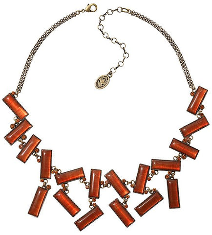 necklace Float to the Rhythm brown/orange antique brass