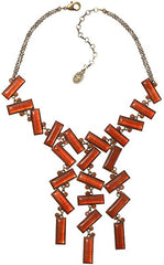 necklace-Y Float to the Rhythm brown/orange antique brass