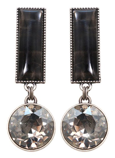 earring stud dangling Float to the Rhythm black antique silver