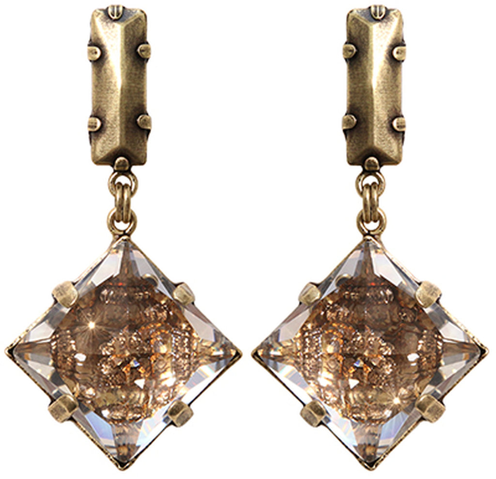earring stud dangling Iceberg De Luxe beige antique brass