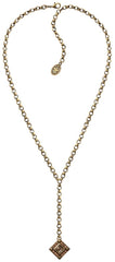 necklace-Y Iceberg De Luxe beige antique brass