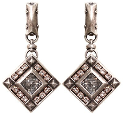 earring stud dangling Iceberg De Luxe white antique silver