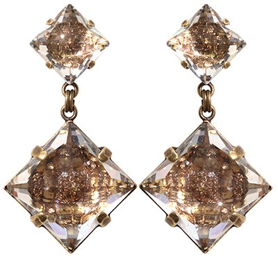 earring stud dangling Iceberg De Luxe beige antique brass size XL,S