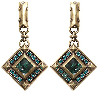 earring stud dangling Iceberg De Luxe green antique brass