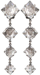 earring clip dangling Iceberg De Luxe white antique silver