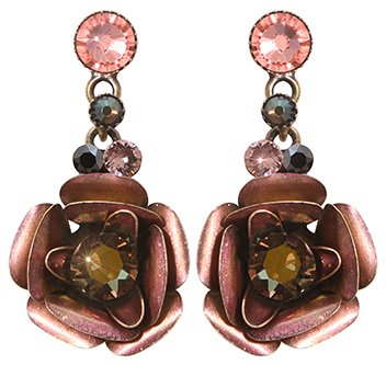 earring stud dangling In Honor of the Rose green antique brass