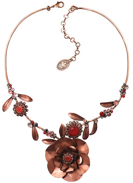 necklace In Honor of the Rose red antique copper