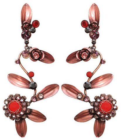 earring stud dangling In Honor of the Rose red antique copper