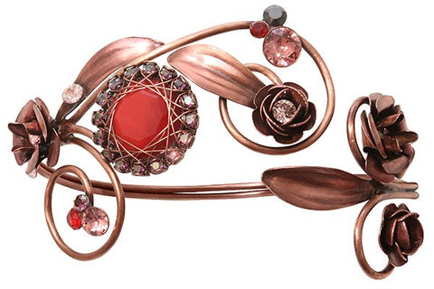 bracelet bangle In Honor of the Rose red antique copper
