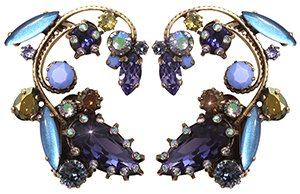 earring clip La Maitresse lila antique brass