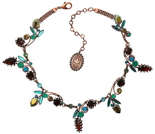 necklace collier La Maitresse brown/green antique copper
