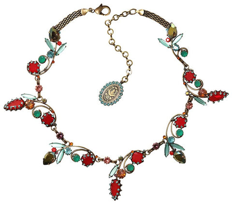 necklace collier La Maitresse multi/green antique brass