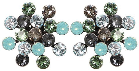 earring stud Magic Fireball grey/green antique silver Classic Size (21mm Ø)