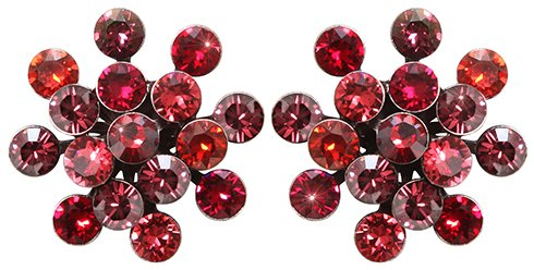 earring stud Magic Fireball dark rose/red antique silver Classic Size (21mm Ø)