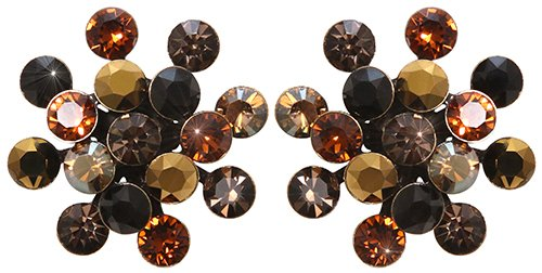 earring stud Magic Fireball black/dark brown antique brass Classic Size (21mm Ø)