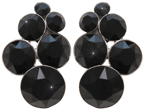 earring stud Petit Glamour pure black antique silver