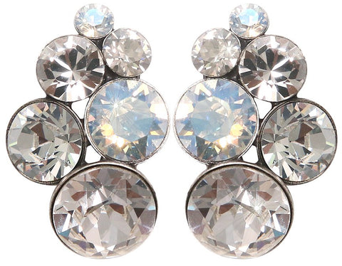 earring stud Petit Glamour white antique silver