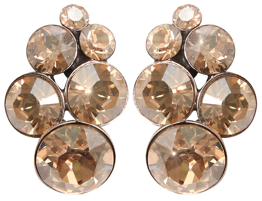 earring stud Petit Glamour golden shadow antique silver