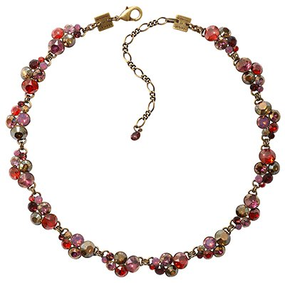 necklace collier Petit Glamour brown/red/lila antique brass