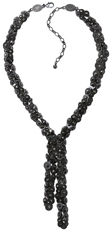 necklace-Y Reptile Meteor black dark antique silver