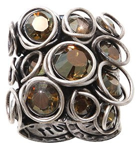 ring Sparkle Twist dark brown antique silver
